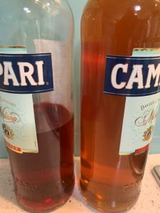 Original colour compared with Campari on left
